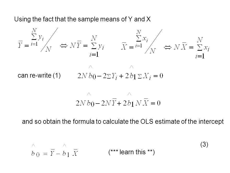 Using the fact that the sample means of Y and X