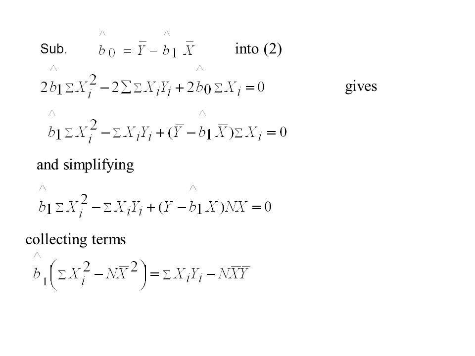 Sub. into (2) gives and simplifying collecting terms