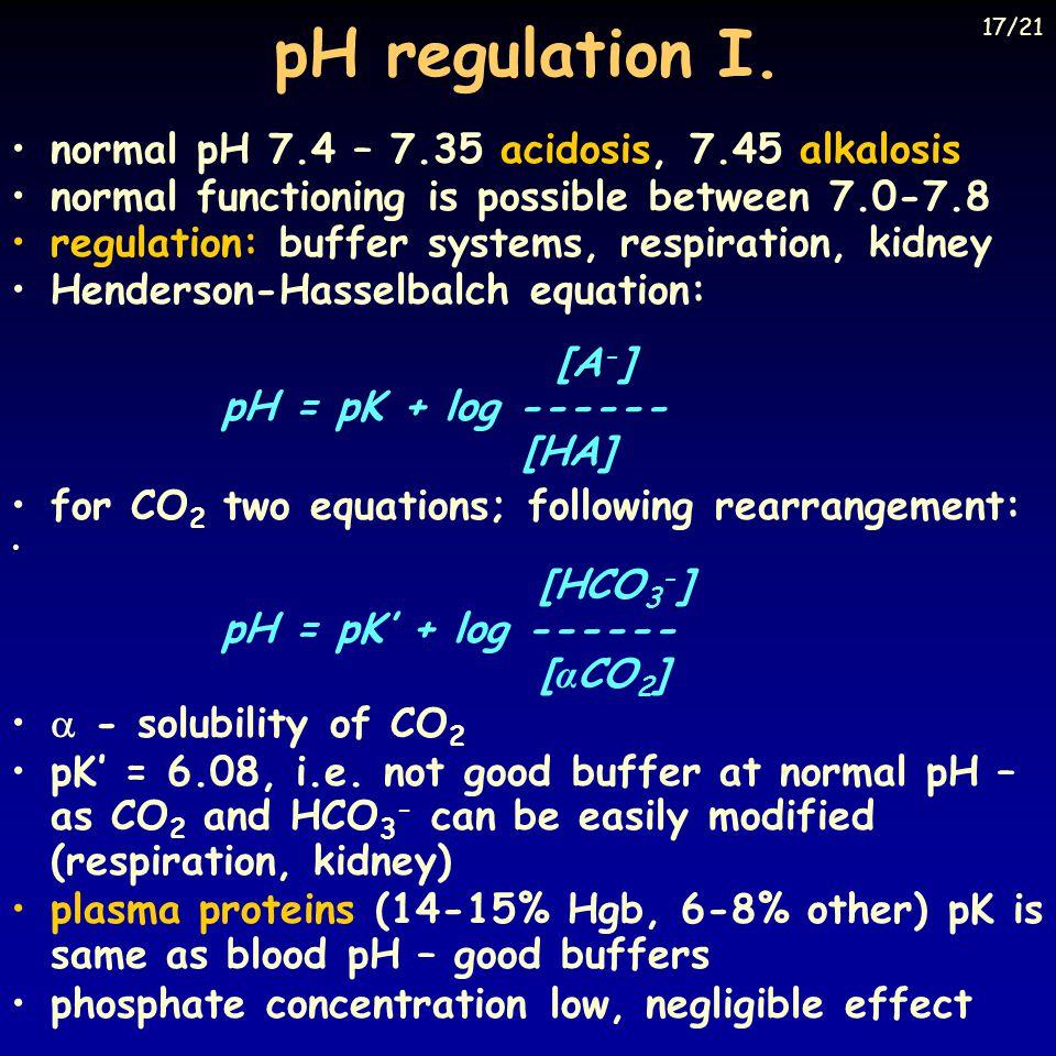 pH regulation I. normal pH 7.4 – 7.35 acidosis, 7.45 alkalosis