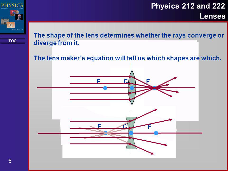 The shape of the lens determines whether the rays converge or diverge from it.