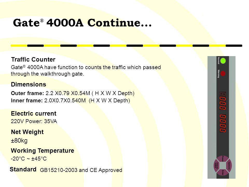 Gate® 4000A Continue... Traffic Counter Dimensions Electric current