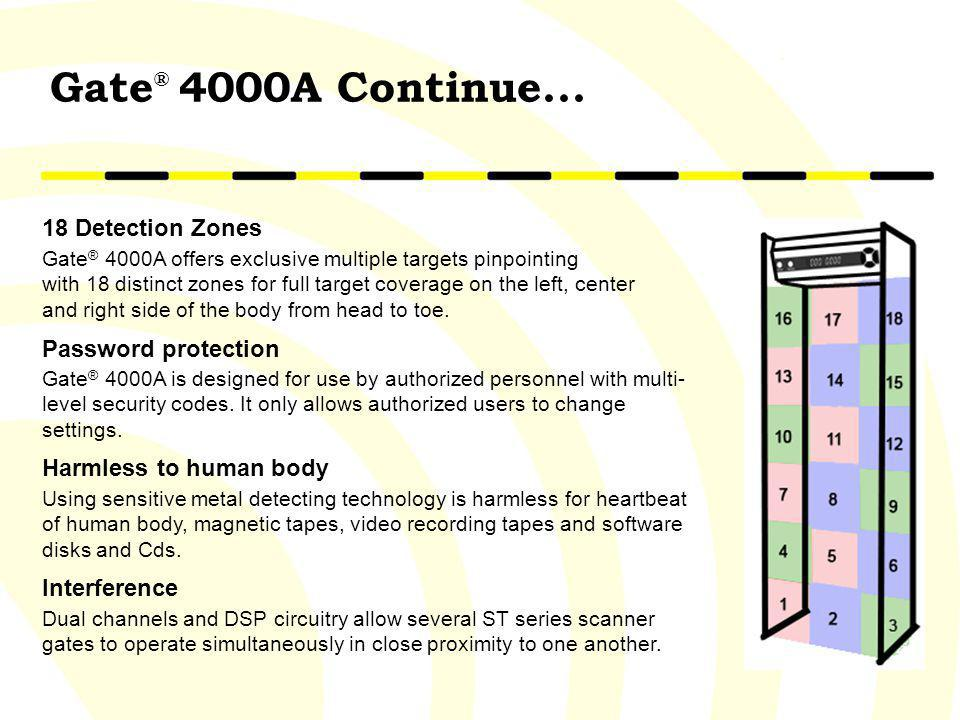 Gate® 4000A Continue... 18 Detection Zones Password protection