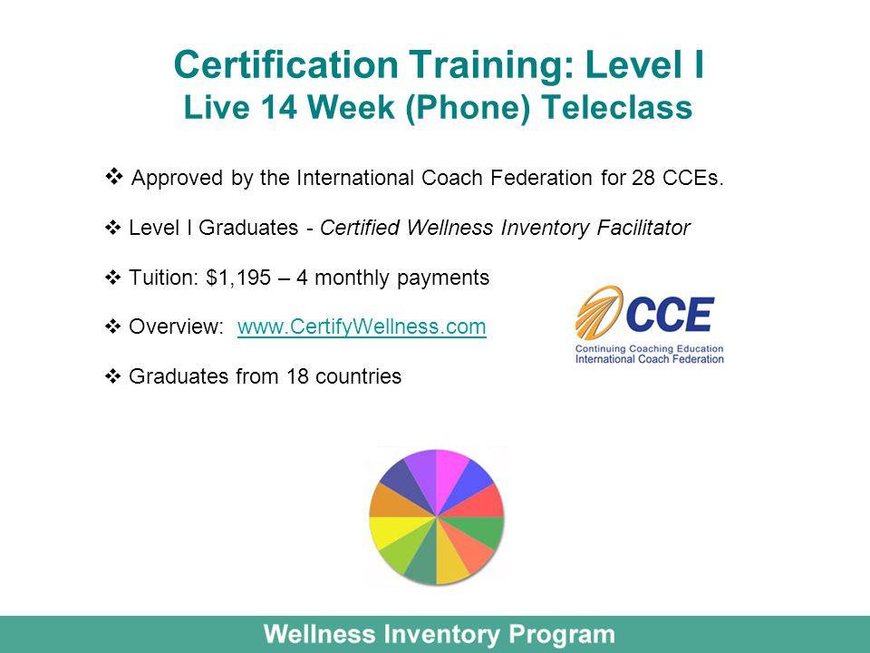 Certification Training: Level I Live 14 Week (Phone) Teleclass
