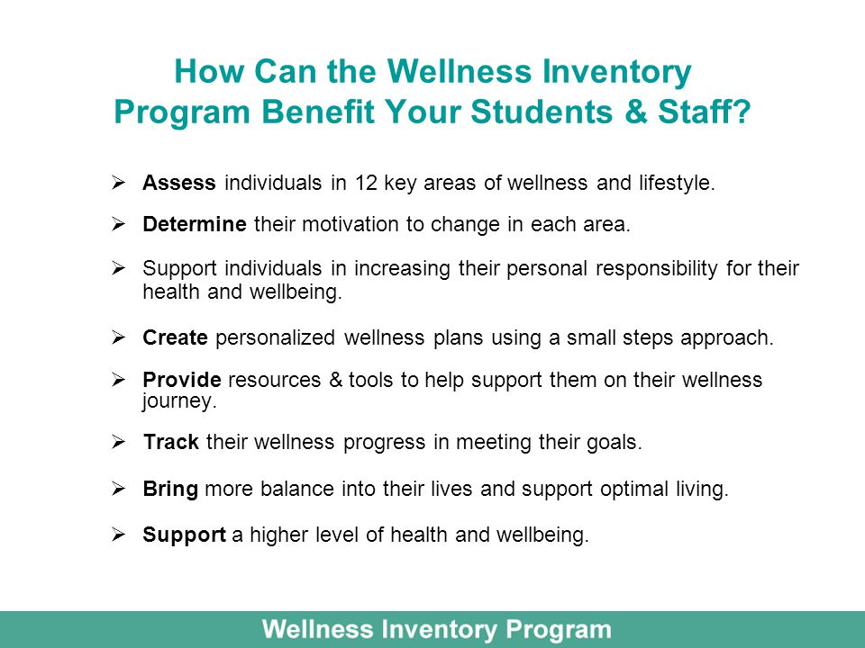 How Can the Wellness Inventory Program Benefit Your Students & Staff