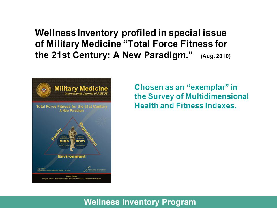 Wellness Inventory profiled in special issue of Military Medicine Total Force Fitness for the 21st Century: A New Paradigm. (Aug. 2010)