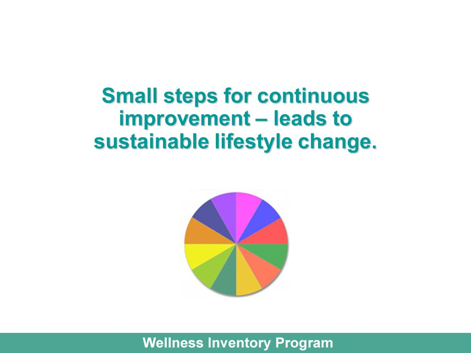Small steps for continuous improvement – leads to sustainable lifestyle change.