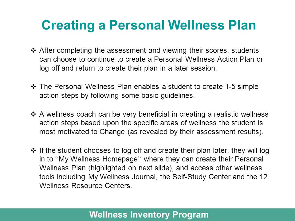 Creating a Personal Wellness Plan