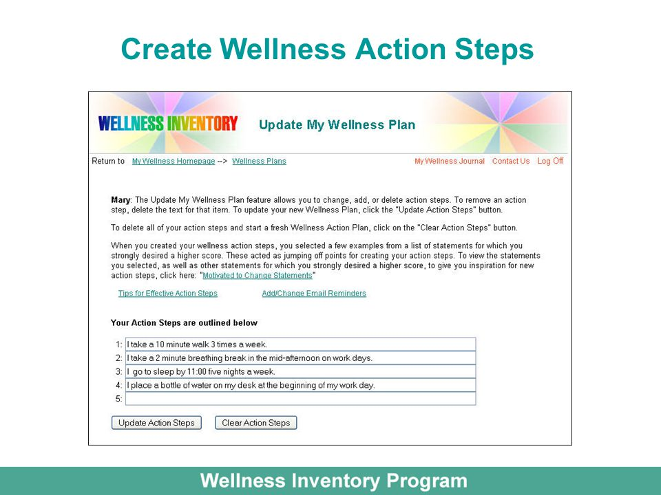 Create Wellness Action Steps