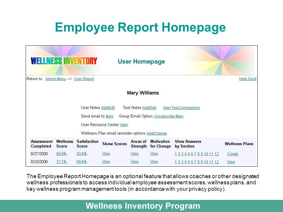 Employee Report Homepage