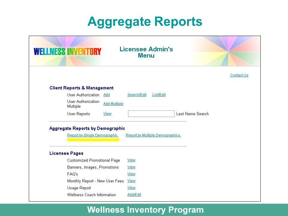 Aggregate Reports