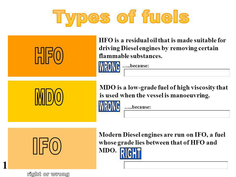 Types of fuels HFO MDO IFO right or wrong