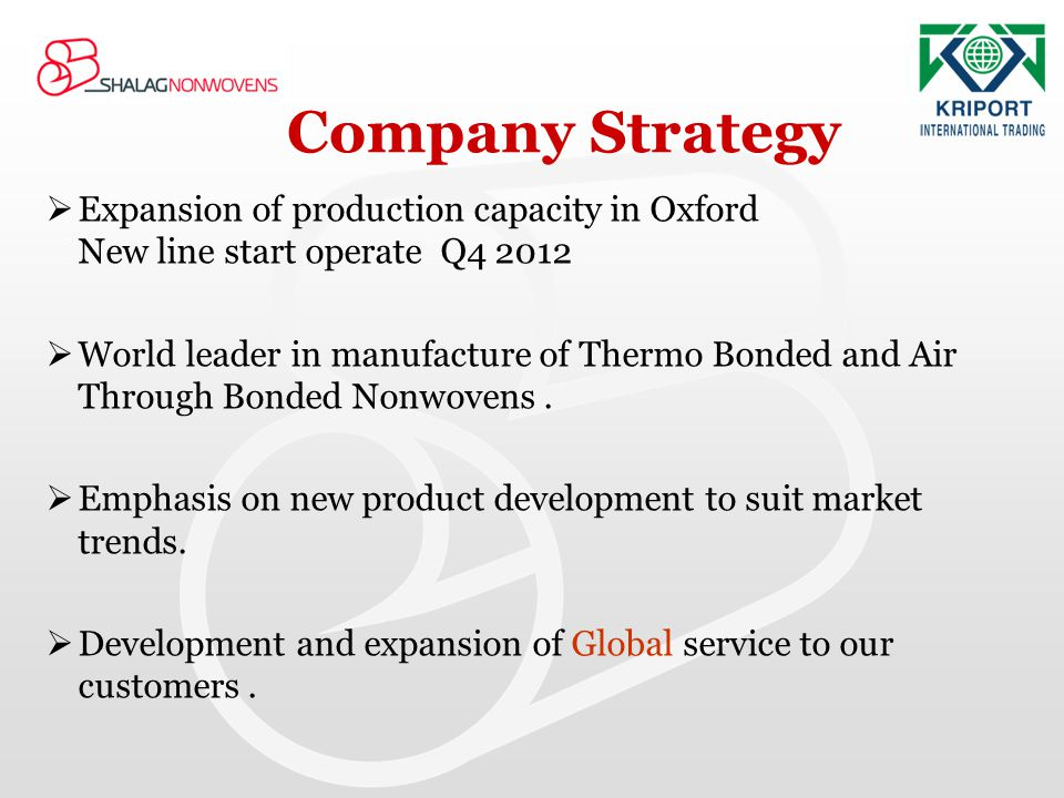 Company Strategy Expansion of production capacity in Oxford New line start operate Q4 2012.
