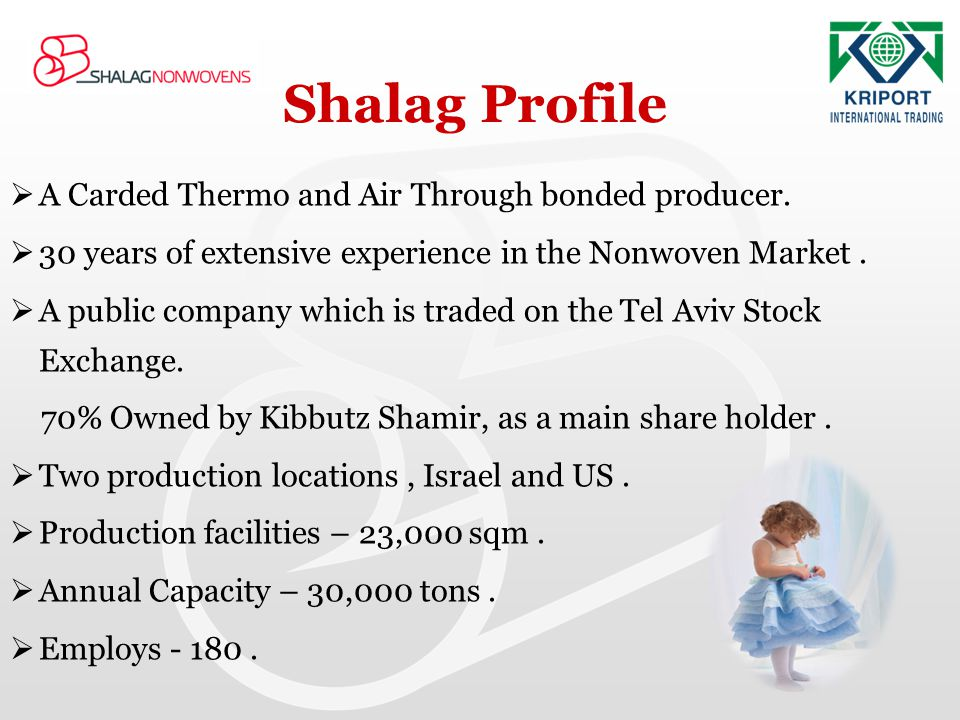 Shalag Profile A Carded Thermo and Air Through bonded producer.