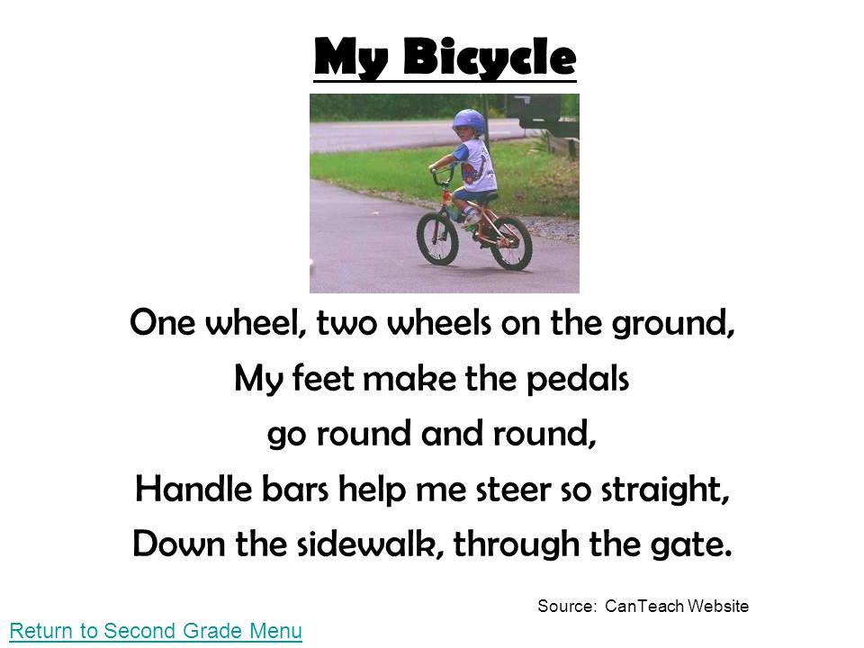 My Bicycle One wheel, two wheels on the ground,