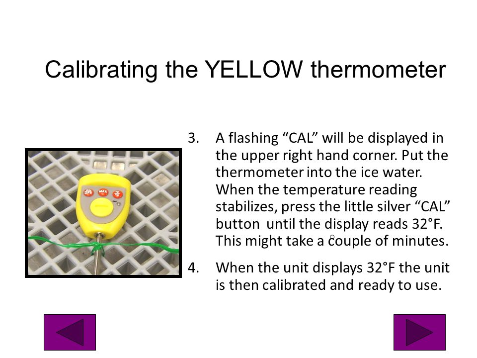 Calibrating the YELLOW thermometer