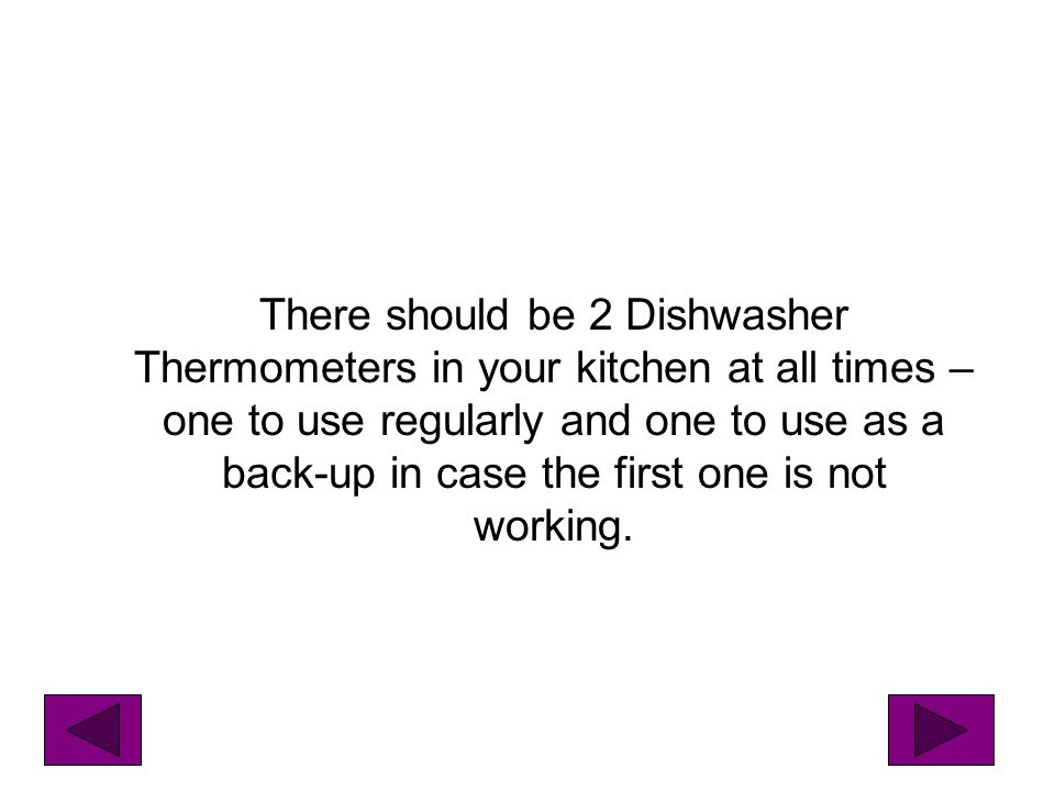 There should be 2 Dishwasher Thermometers in your kitchen at all times – one to use regularly and one to use as a back-up in case the first one is not working.