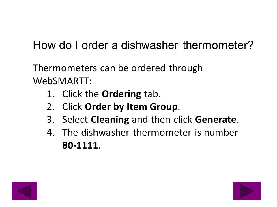 How do I order a dishwasher thermometer