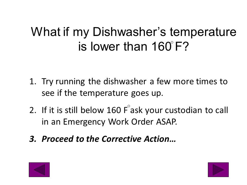 What if my Dishwasher's temperature is lower than 160 F
