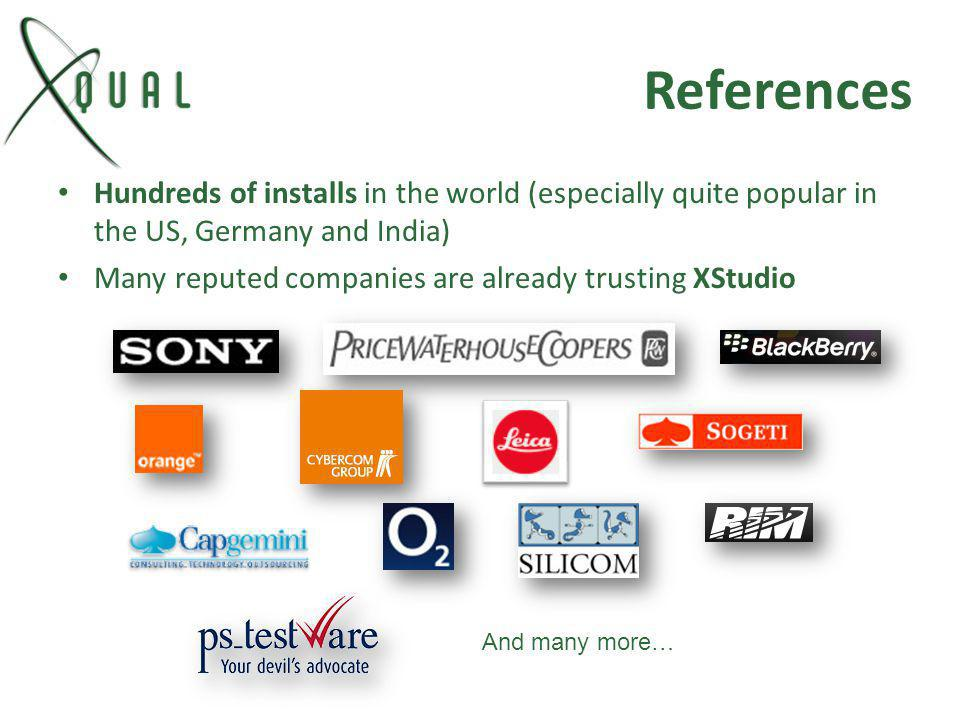 References Hundreds of installs in the world (especially quite popular in the US, Germany and India)