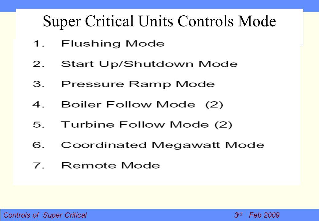 Super Critical Units Controls Mode