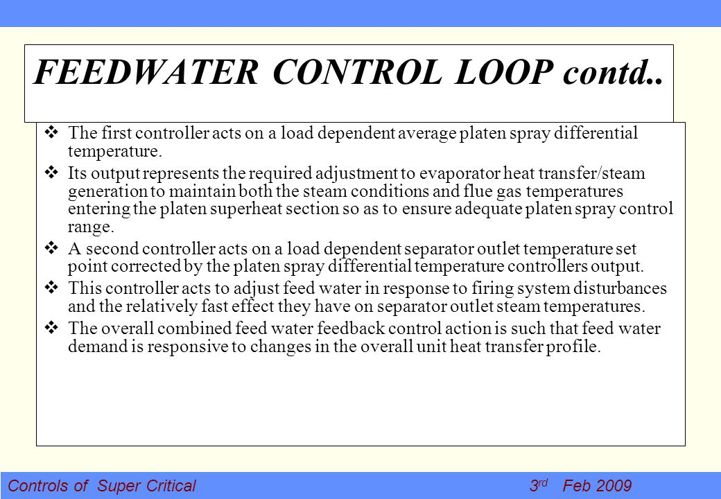 FEEDWATER CONTROL LOOP contd..