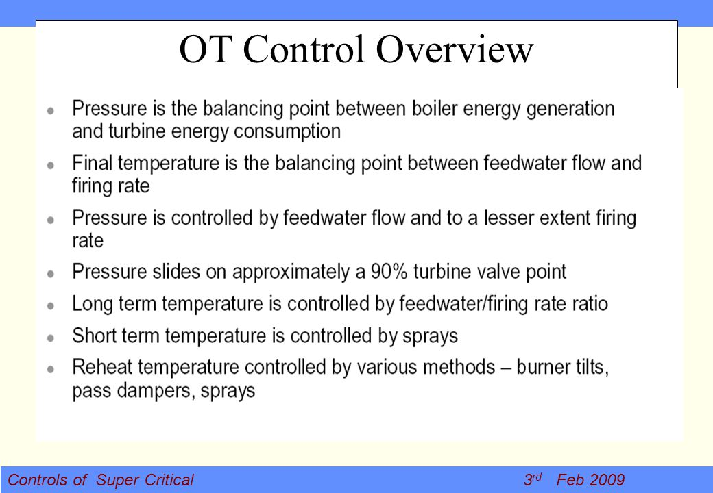 OT Control Overview Hear realese and heat demand has to be balanced