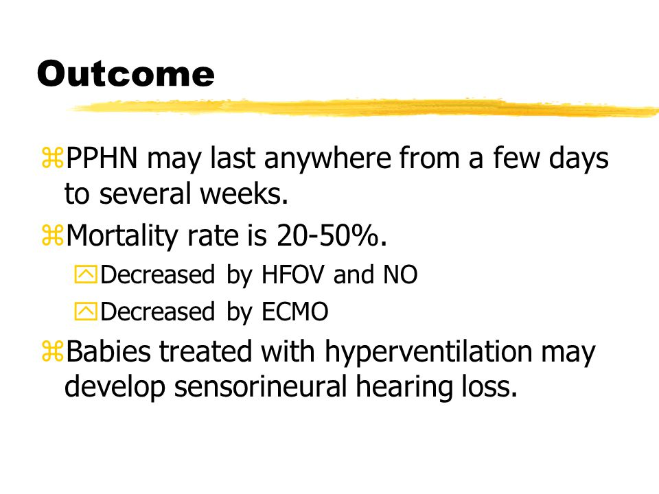 Outcome PPHN may last anywhere from a few days to several weeks.