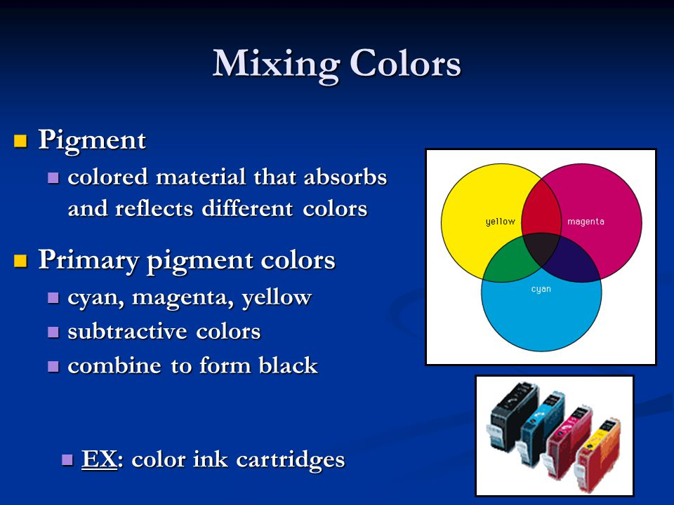 Mixing Colors Pigment Primary pigment colors