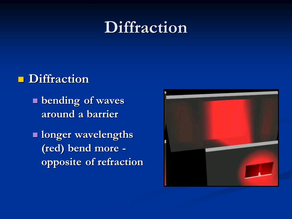Diffraction Diffraction bending of waves around a barrier