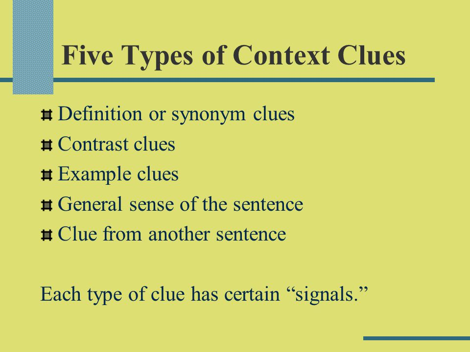 Five Types of Context Clues