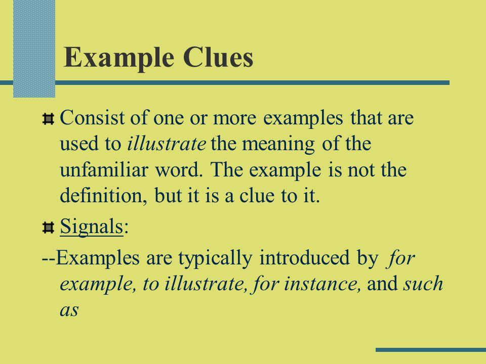 Example Clues