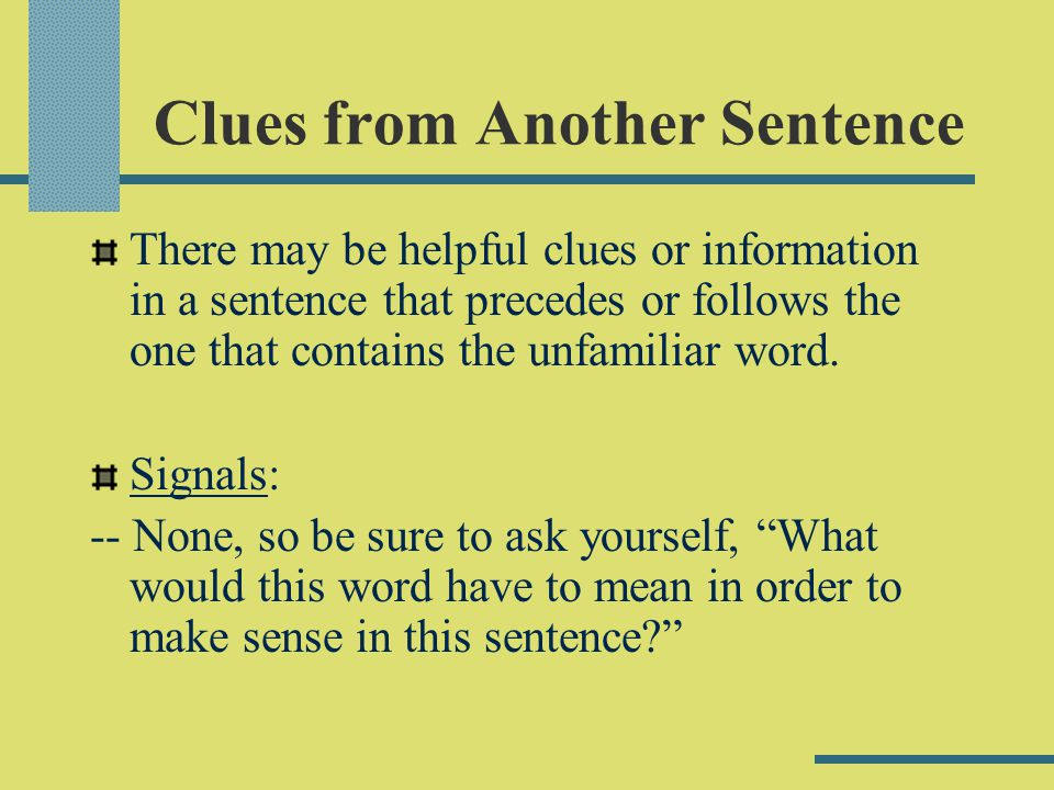 Clues from Another Sentence