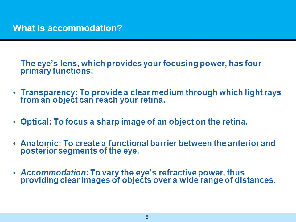 What is accommodation The eye's lens, which provides your focusing power, has four primary functions: