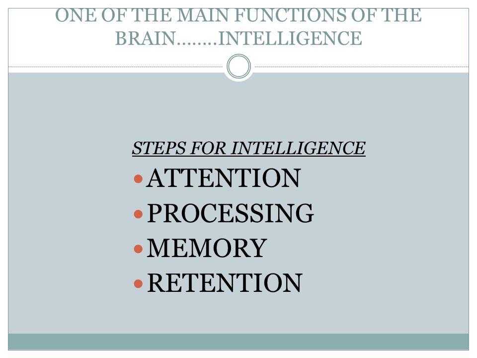 ONE OF THE MAIN FUNCTIONS OF THE BRAIN……..INTELLIGENCE