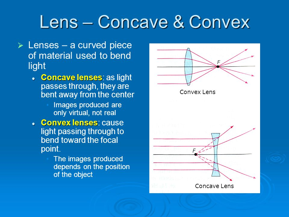 Lens – Concave & Convex Lenses – a curved piece of material used to bend light.