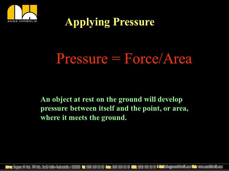 Pressure = Force/Area Applying Pressure
