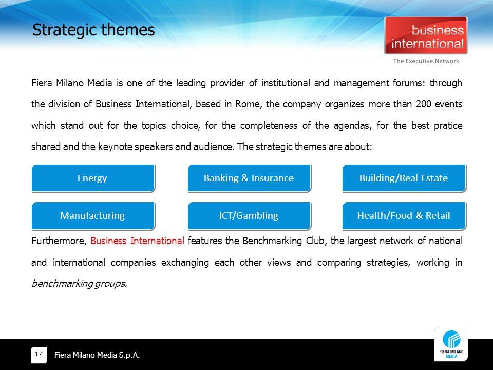 Strategic themes Banking & Insurance Building/Real Estate ICT/Gambling