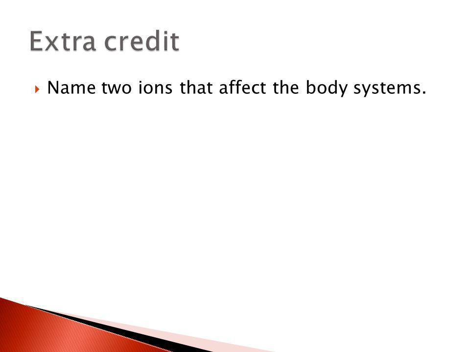 Extra credit Name two ions that affect the body systems.