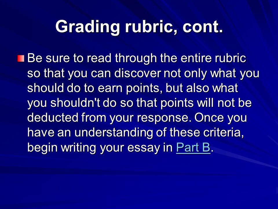 Grading rubric, cont.