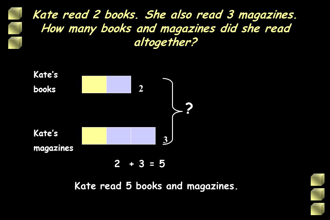 Kate read 5 books and magazines.