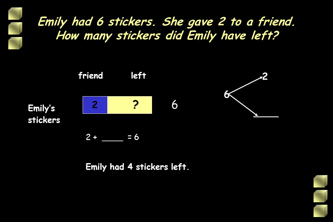 Emily had 6 stickers. She gave 2 to a friend