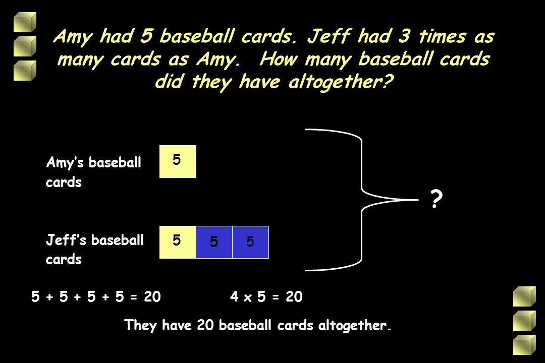 Amy had 5 baseball cards. Jeff had 3 times as many cards as Amy
