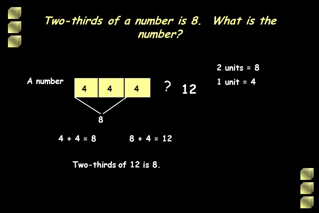 Two-thirds of a number is 8. What is the number