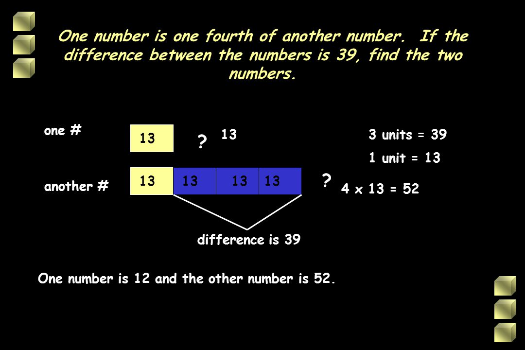 One number is one fourth of another number