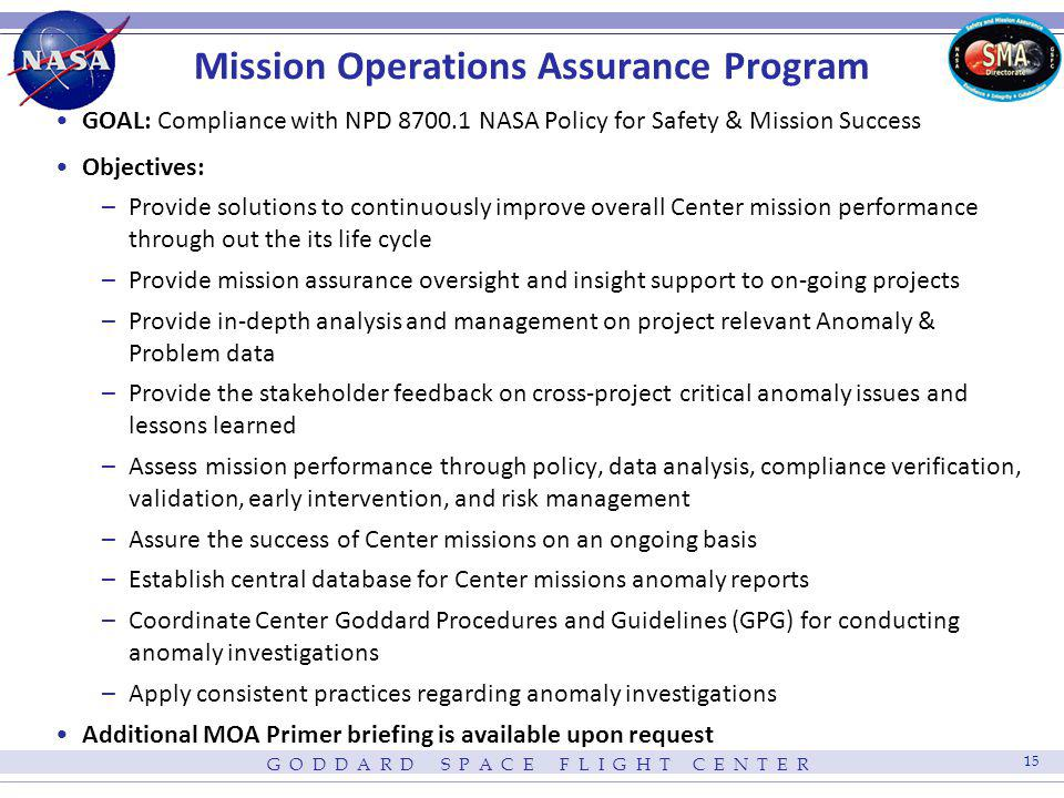 Mission Operations Assurance Program