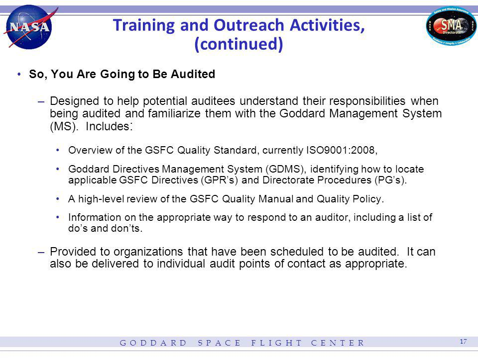 Training and Outreach Activities, (continued)