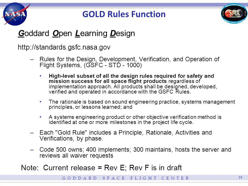 GOLD Rules Function Goddard Open Learning Design