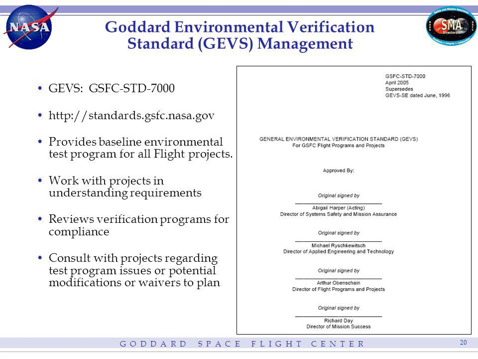 Goddard Environmental Verification Standard (GEVS) Management