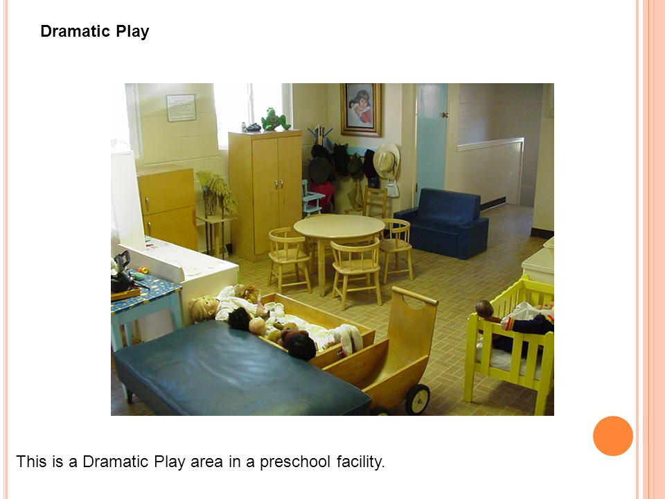 Dramatic Play This is a Dramatic Play area in a preschool facility.