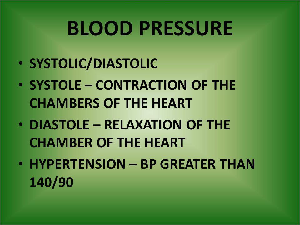BLOOD PRESSURE SYSTOLIC/DIASTOLIC